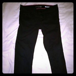 Love Sick black jeans with pink stitching